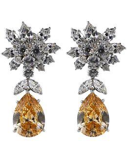 Cluster Pear Shape Drop Earrings