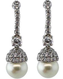 Pave Pearl Drop Earrings