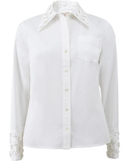 Embroidered Collar Button Shirt