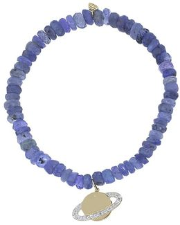 Diamond Saturn Blue Tanzanite Rondelle Beaded Bracelet