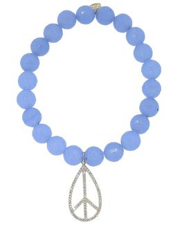 Diamond Peace Sign Light Blue Jade Beaded Bracelet