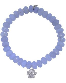 Diamond Dog Paw Light Blue Chalcedony Beaded Bracelet