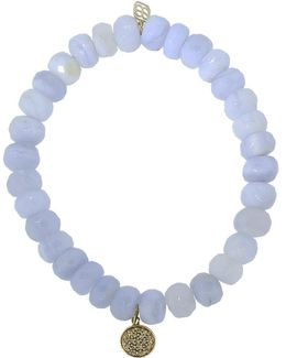 Mini Diamond Disc Chalcedony Beaded Bracelet