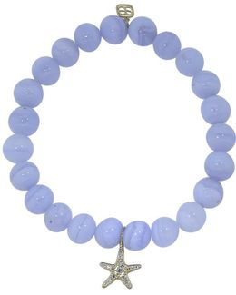 Diamond Starfish Blue Lace Agate Beaded Bracelet