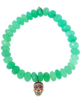 Day Of The Dead Skull Chrysoprase Beaded Bracelet