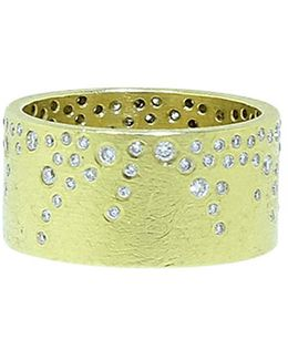 White Brilliant Diamond Sprinkle Wide Band