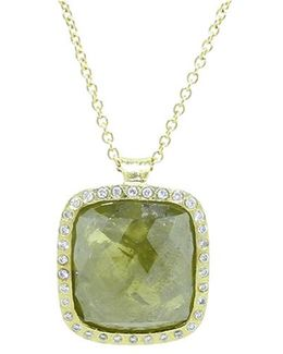 Green And Yellow Fancy Diamond Pendant Necklace