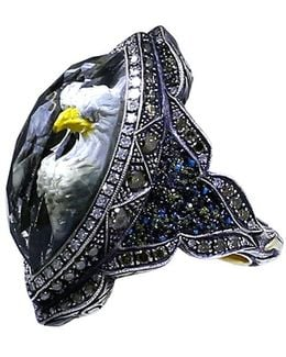 Carved Eagle Diamond Ring