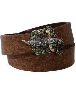 Diamond Sword Clasp Double Wrap Leather Bracelet