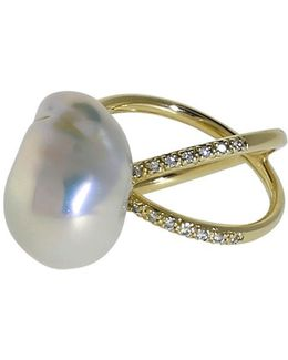 Freshwater Pearl And Diamond Crossover Ring