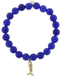 Blue Sapphire Fish Royal Jade Beaded Bracelet