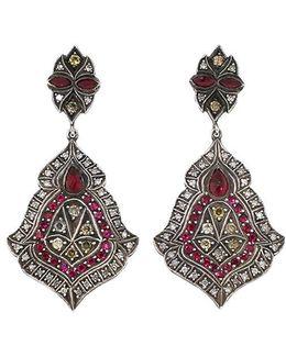 Scroll Sheild Ruby And Diamond Earrings