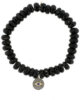 8Mm Faceted Black Spinel Beaded Bracelet With 14K Gold/Rhodium Diamond Small Evil Eye Charm (Made To Order)