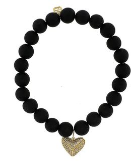 Diamond Pave Heart Onyx Beaded Bracelet