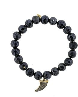 Diamond Pave Horn Black Spinel Beaded Bracelet