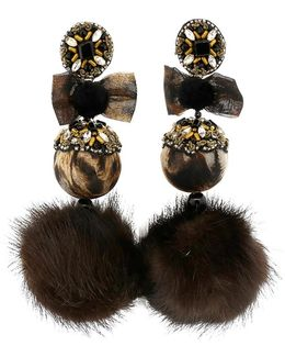 Leopard Pom Pom Earrings