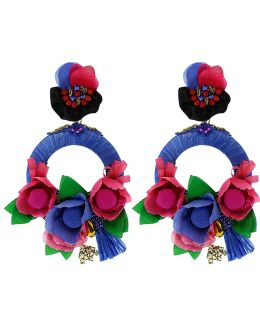 Drop Hoop Flower Earrings