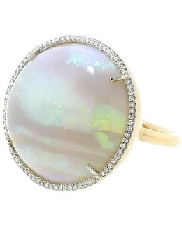 Opal And Diamond Pave Ring