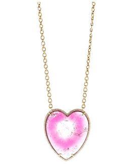 Bi-color Tourmaline Heart Necklace