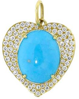 Turquoise And Diamond Pave Heart Charm