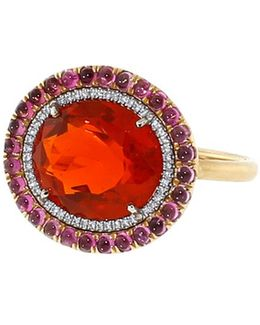 Fire Opal And Pink Tourmaline Ring
