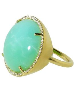 Cabochon Mint Chrysoprase Ring
