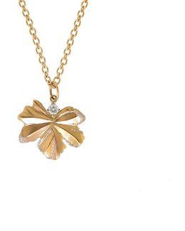Gold Leaf And Diamond Pendant