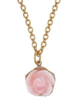 Pink Opal Flower Pendant