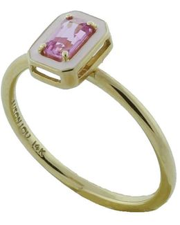 Pink Sapphire And Enamel Ring