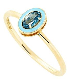 Blue Topaz And Enamel Ring