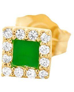 Green Enamel And Diamond Stud