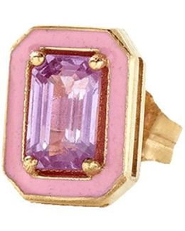 Pink Sapphire And Enamel Stud