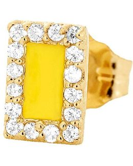 Yellow Enamel And Diamond Stud