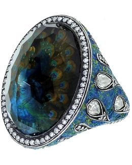 Peacock Citrine Ring