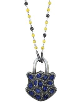 Large Blue Sapphire Lock Pendant