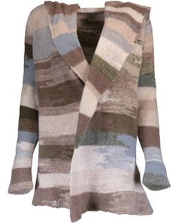 Abstract Stripe Open Cardigan