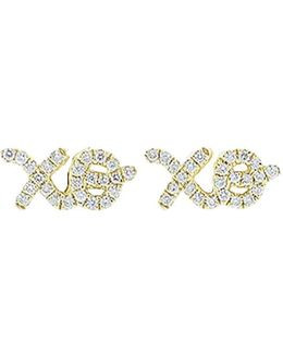 Diamond Pave Xo Stud Earrings