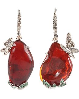 Fire Opal Butterfly Earrings