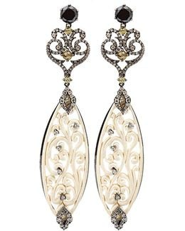 Carved Mammoth Drop Earrings With Diamonds