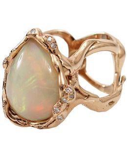 Opal And Diamond Organic Ring