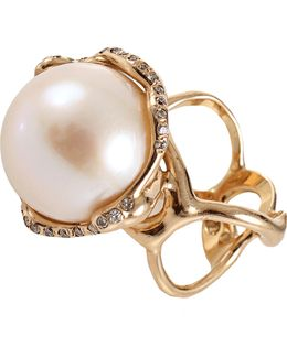 Fresh Water Pearl And Diamond Cocktail Ring