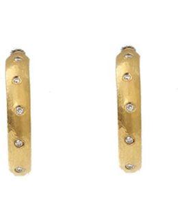 Small Mica Diamond Hoop Earrings