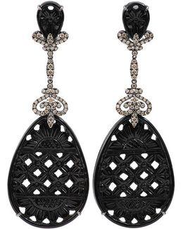 Carved Black Onyx Drop Earrings