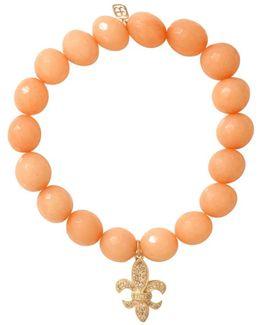 Diamond Fleur De Lis Beaded Bracelet