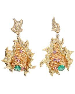 Emerald And Diamond Fish Earrings