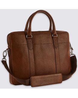 Pebble Grain Leather Briefcase