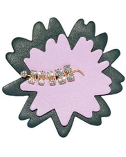 Brooch In Leather Strass Pink