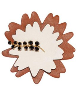 Brooch In Leather Strass White