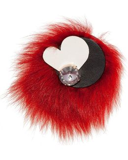 Brooch In Leather And Fur