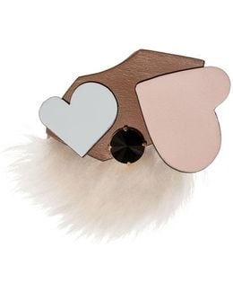 Heart Brooch In Leather And Fur